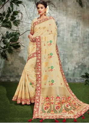Art Silk Cream Zari Designer Traditional Saree