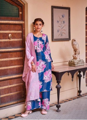 Art Silk Designer Palazzo Suit in Blue and Pink
