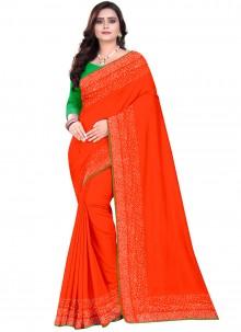 Art Silk Designer Saree in Orange