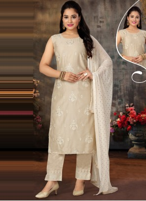Off White Art Silk Designer Suit