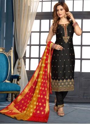 Art Silk Designer Suit in Black