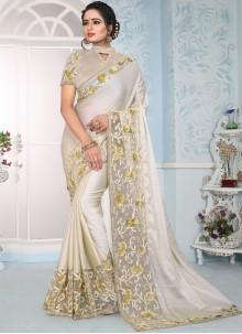 Art Silk Designer Traditional Saree in Cream