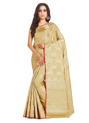 Art Silk Designer Traditional Saree in Cream