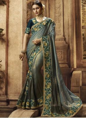 Art Silk Designer Traditional Saree in Grey