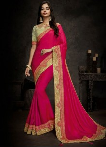 Art Silk Designer Traditional Saree in Hot Pink