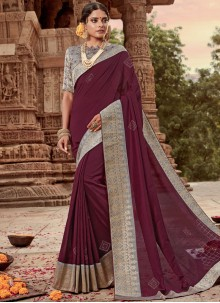 Art Silk Designer Traditional Saree in Maroon