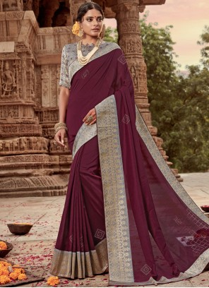 Art Silk Designer Traditional Saree in Maroon