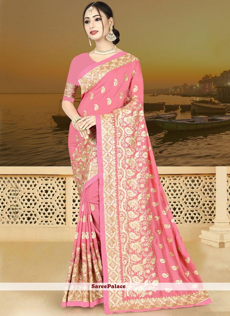 Art Silk Designer Traditional Saree in Pink