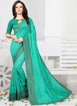 Art Silk Designer Traditional Saree in Sea Green