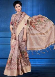 Art Silk Digital Print Printed Saree in Multi Colour