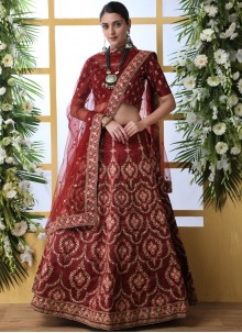 Art Silk Embroidered A Line Lehenga Choli in Maroon