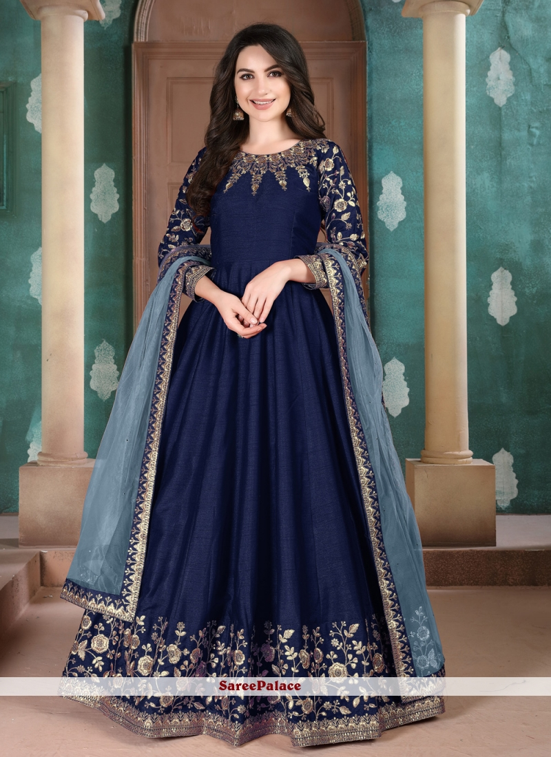 Art Silk Embroidered Anarkali Suit in Blue