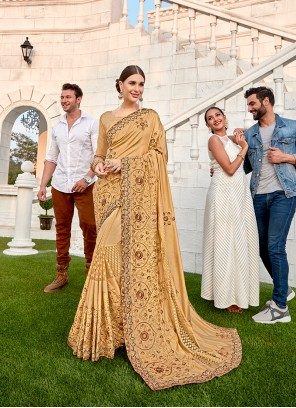 Art Silk Embroidered Beige Designer Saree