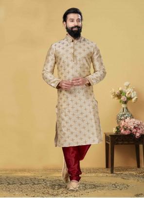 Art Silk Embroidered Beige Kurta Pyjama