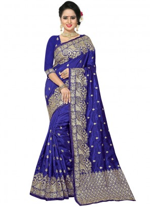 Art Silk Embroidered Blue Traditional Saree