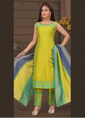 Art Silk Yellow Embroidered Bollywood Salwar Kameez