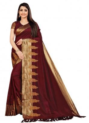 Art Silk Embroidered Brown Designer Saree