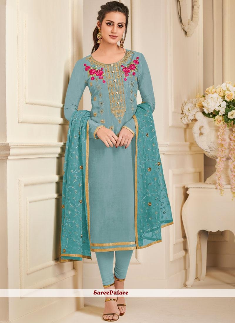 Art Silk Embroidered Churidar Designer Suit in Blue