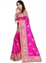 Art Silk Embroidered Classic Designer Saree in Magenta
