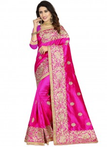 Art Silk Embroidered Classic Designer Saree in Magenta