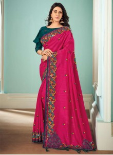 Art Silk Embroidered Pink Classic Saree