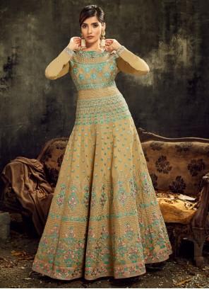 Art Silk Embroidered Designer Floor Length Salwar Suit in Mustard