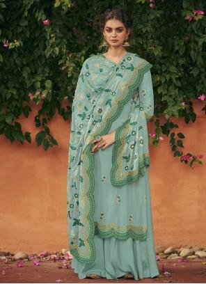 Art Silk Embroidered Designer Palazzo Salwar Kameez