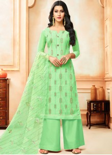 Art Silk Embroidered Designer Palazzo Suit