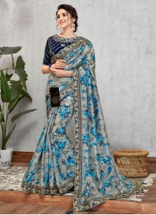 Art Silk Embroidered Designer Traditional Saree in Blue