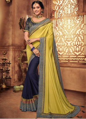 Art Silk Embroidered Designer Traditional Saree in Blue and Yellow