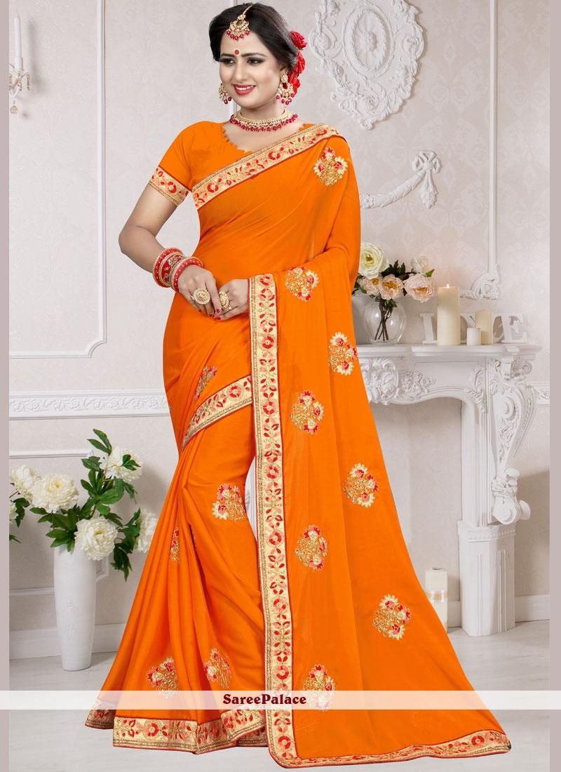 Art Silk Embroidered Designer Traditional Saree in Orange