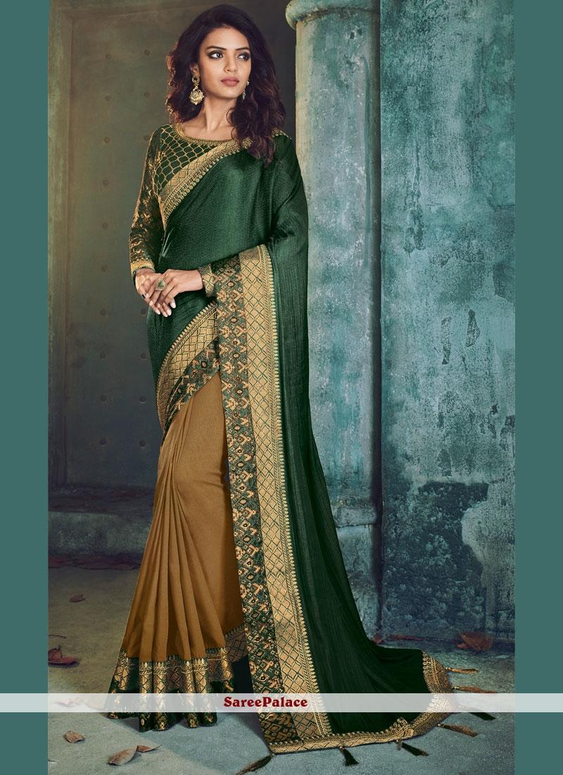 Art Silk Embroidered Green Designer Half N Half Saree
