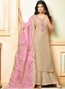 Art Silk Embroidered Grey Designer Palazzo Suit