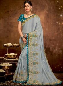 Art Silk Embroidered Grey Designer Traditional Saree