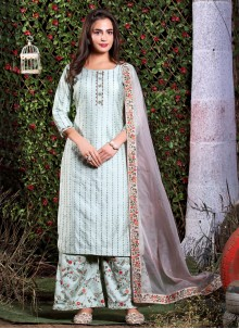 Art Silk Embroidered Grey Readymade Suit