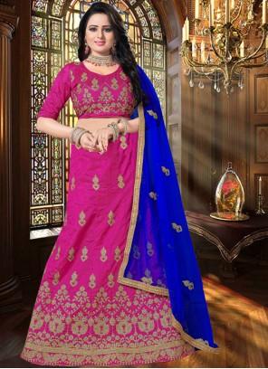 Art Silk Embroidered Hot Pink Lehenga Choli