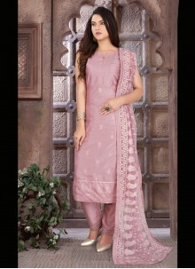 Art Silk Embroidered Lavender Readymade Suit