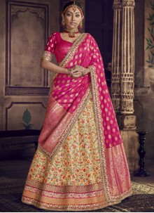 Art Silk Embroidered Lehenga Choli in Hot Pink and Yellow