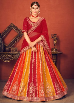 Art Silk Embroidered Lehenga Choli in Multi Colour and Red
