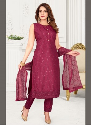 Art Silk Embroidered Magenta Readymade Suit