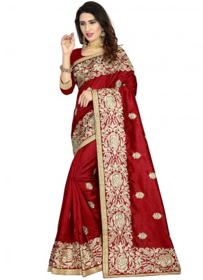 Art Silk Embroidered Maroon Classic Designer Saree