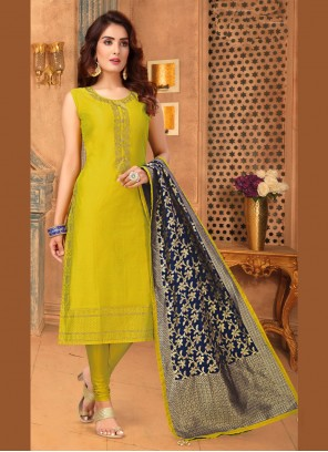 Art Silk Embroidered Mustard Trendy Churidar Suit