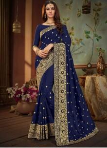 Art Silk Embroidered Navy Blue Designer Traditional Saree