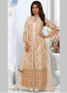 Art Silk Embroidered Off White Bollywood Salwar Kameez