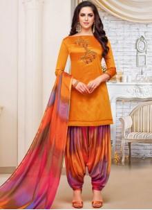 Art Silk Embroidered Orange Designer Patiala Suit