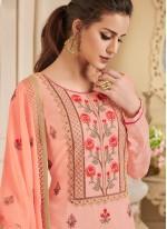 Art Silk Embroidered Peach Churidar Designer Suit
