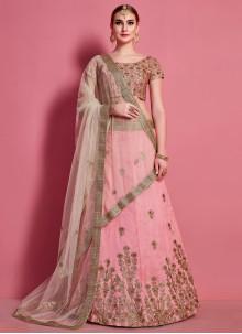 Art Silk Embroidered Pink A Line Lehenga Choli