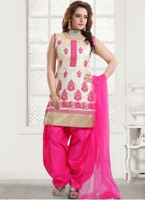 Art Silk Embroidered Pink Designer Patiala Suit