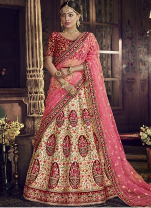 Art Silk Embroidered Pink Lehenga Choli
