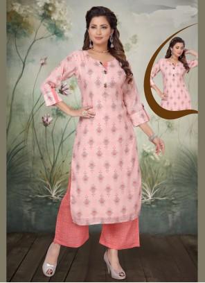 Art Silk Embroidered Pink Trendy Straight Salwar Kameez